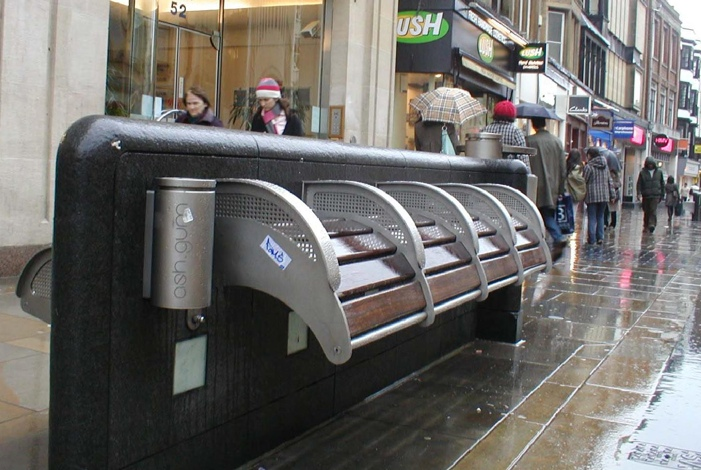 Ledge-benches prevent lazy jobless losers from enjoying nap time